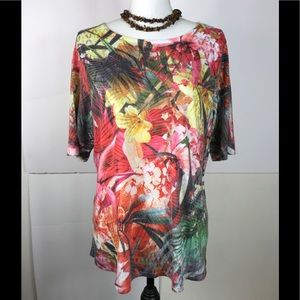 Christopher Banks Top Short Sleeve Floral Rayon L